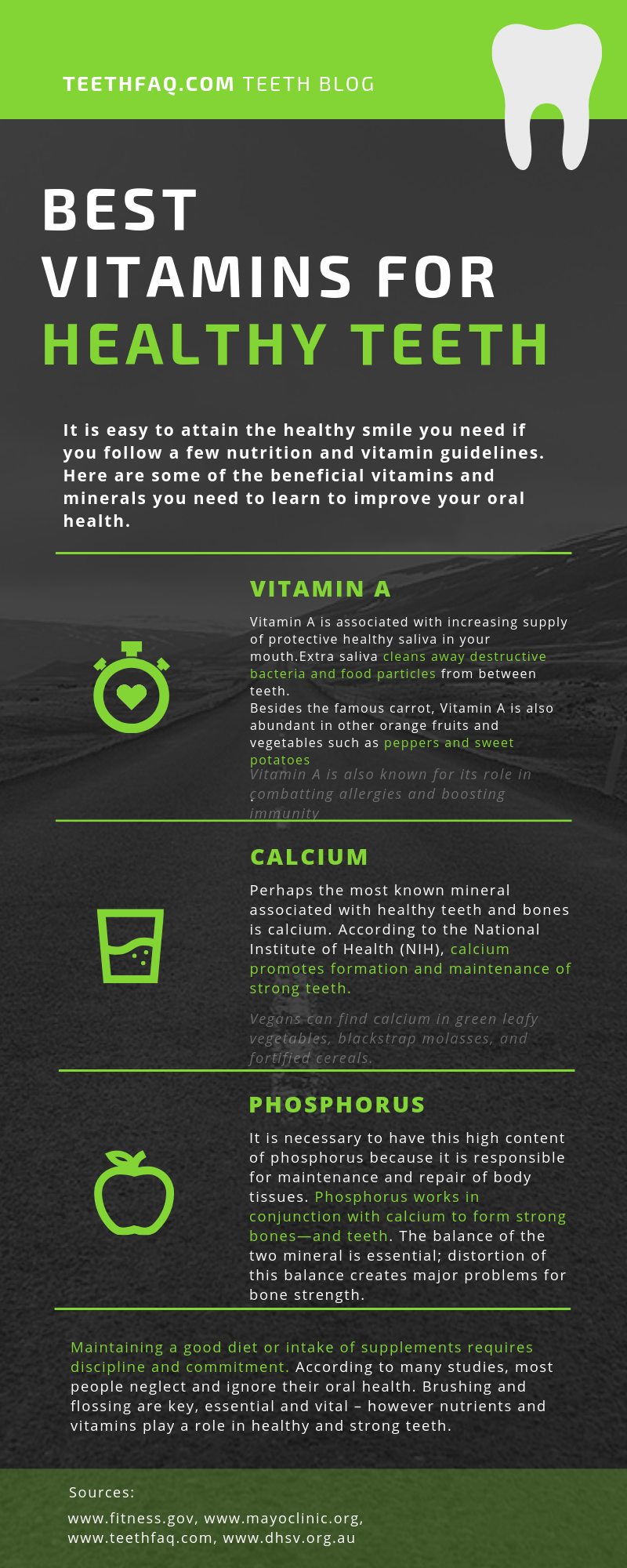 vitamins for healthy teeth infographic showing the top five vitamins to help make teeth stronger and healthier